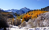 Autumn snow along Dallas Creek beneath Mount Sneffels, Colorado San Juan Mountains.