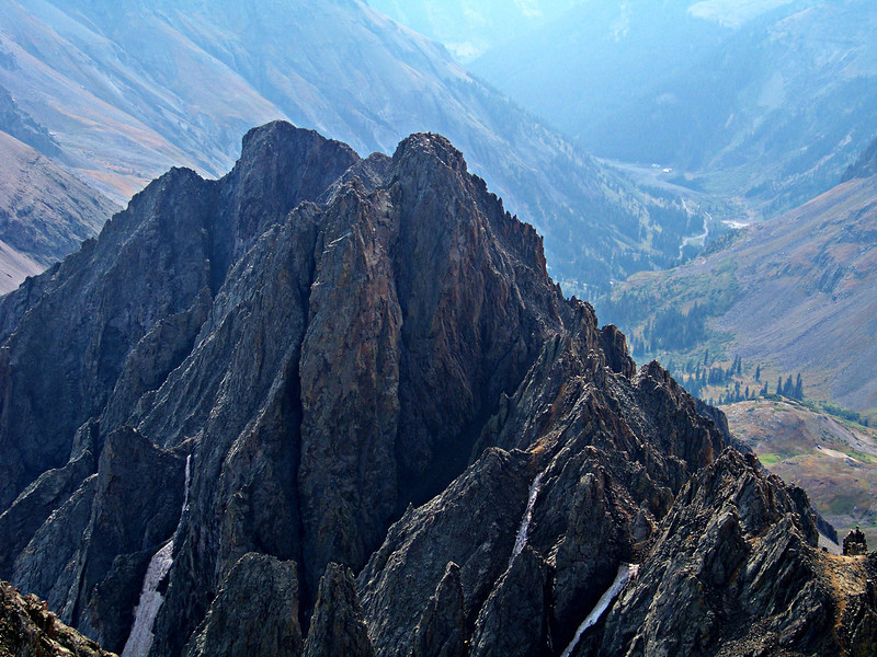 Spires on the east ridge, from the summit of Mt. Sneffels, Colorado San Juan Mountains.