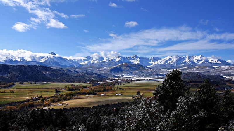 The vast RL Ranch stretches across the Dallas Divide landscape beneath the Sneffels Range, Colorado San Juans.