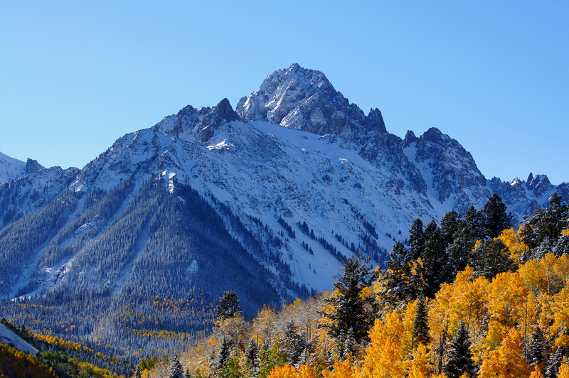 The north face of Mount Sneffels from the Dallas Creek approach, Colorado San Juan Range.