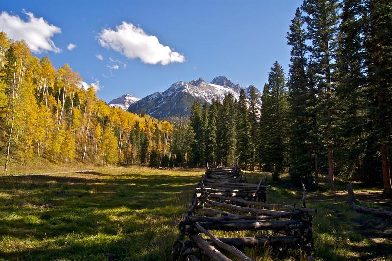 An idyllic autumn setting along East Dallas Creek Road in the Mt. Sneffels Wilderness; Colorado San Juan Mountains.