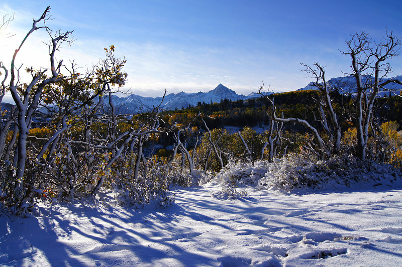An icy autumn morning in the Mount Sneffels wilderness, Colorado San Juan Range.