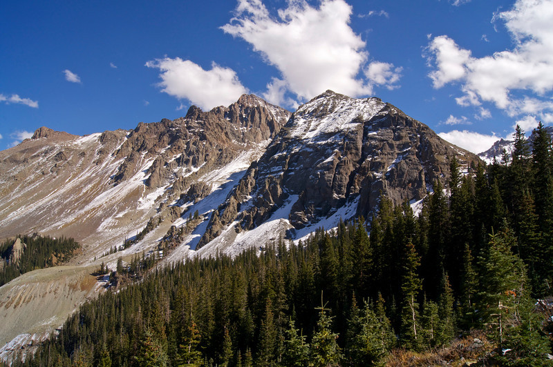 The rugged northeast ridge of Mt. Sneffels, viewed from the Blue Lakes trail; Colorado San Juan Mountains.