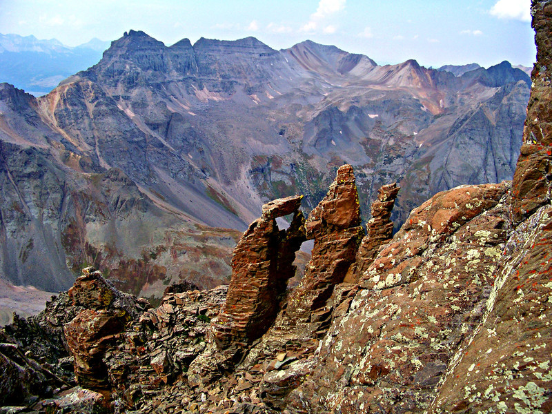 """The """"Kissing Camels"""" and Dallas Peak from the Mt. Sneffels southwest ridge, Colorado San Juan Mountains."""