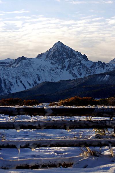 Icy autumn morning on a cattle ranch near Mount Sneffels, Colorado San Juan Range.