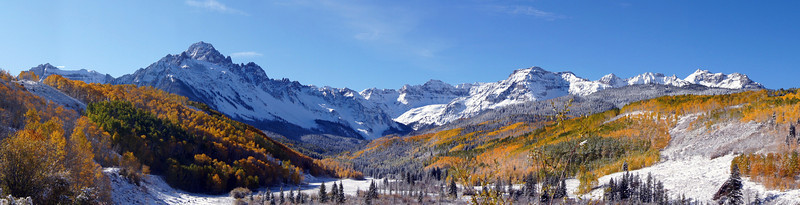 Fall colors and autumn snow in the upper Dallas Creek Valley, Mount Sneffels Wilderness, Colorado.