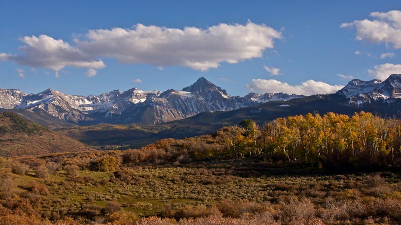 A late afternoon autumn scene along the Dallas Divide; Colorado San Juan Mountains.