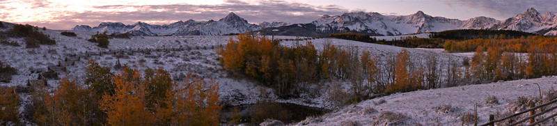 Cold autumn sunrise at the Dallas Divide, Mount Sneffels, Colorado San Juan Range.