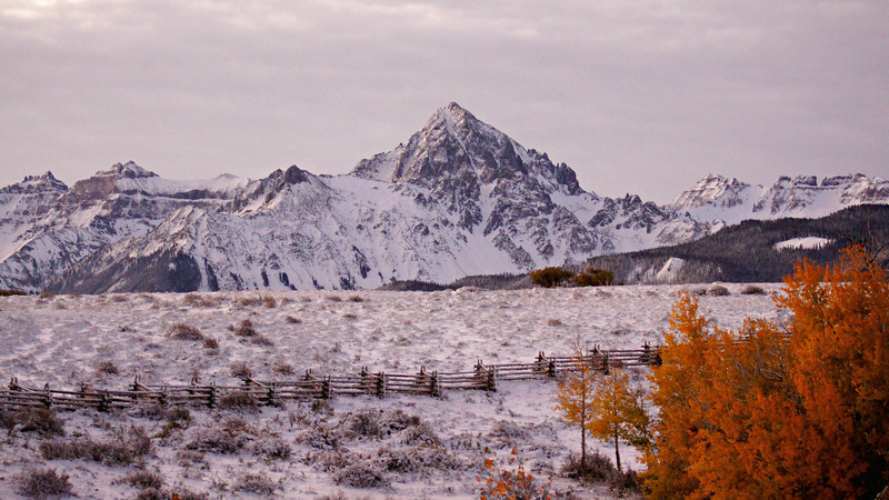 Autumn's first snow on a cattle ranch at sunrise; Dallas Divide and Mount Sneffels, Colorado San Juan Mountains.