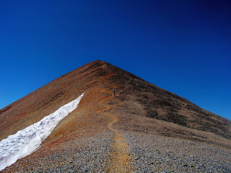 This gently winding trail is the last pitch to the summit of Redcloud Peak, Colorado San Juan Range.