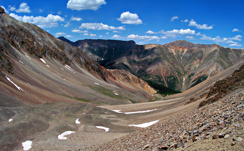 The Southfork Silver Creek drainage below Sunshine Peak, Colorado San Juan Range.