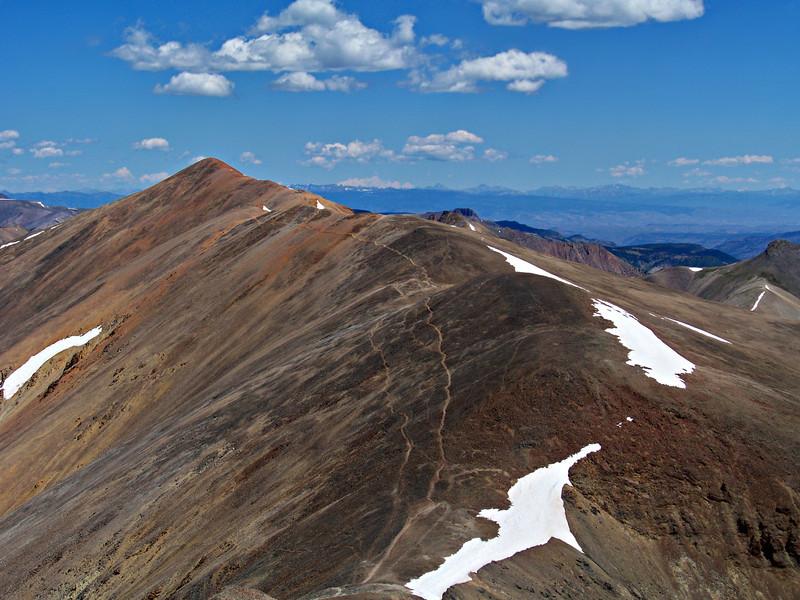 Trails along the south ridge of Redcloud Peak, Colorado San Juan Range.