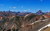 Wetterhorn, Matterhorn and Uncompahgre Peaks, viewed from the summit of Sunshine Peak, Colorado San Juan Range.