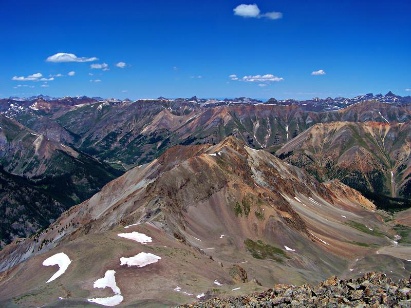 Sundog Peak and the the view northeast from the summit of Sunshine Peak, Colorado San Juan Range.