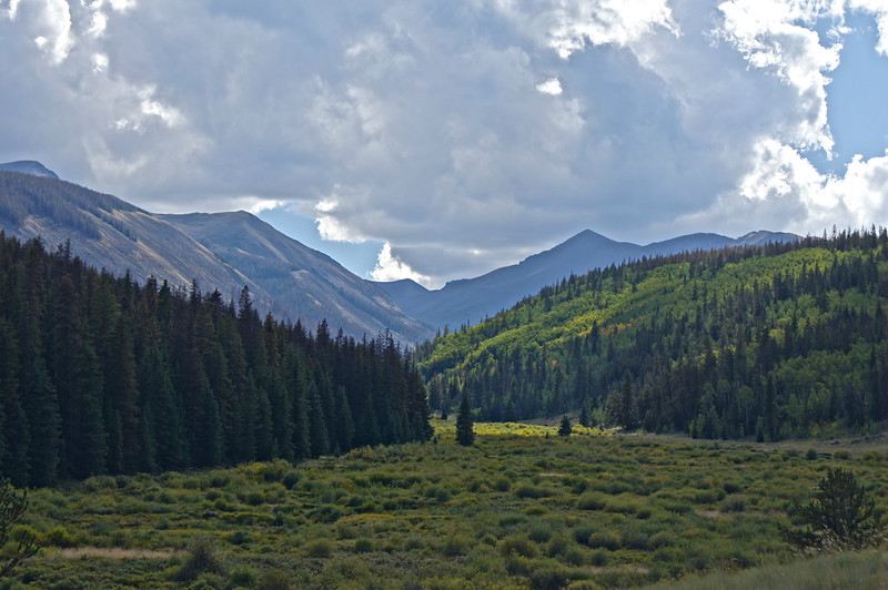 Stewart Creek drainage leads up to San Luis Peak from the east; Colorado San Juan Range.