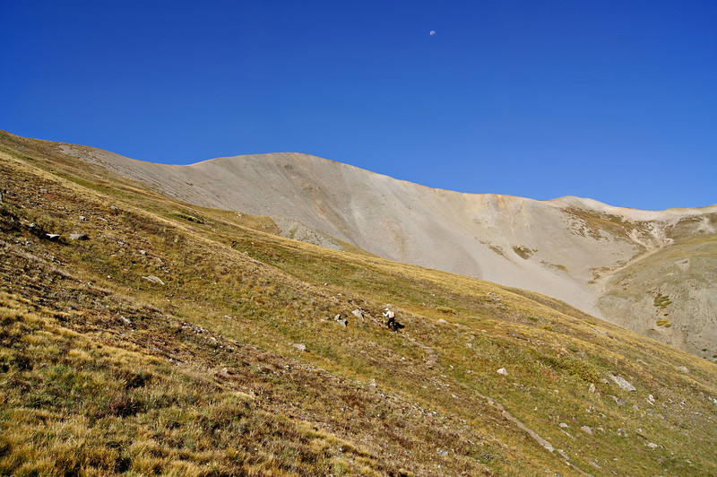 Climbing toward the San Luis Peak east saddle; Colorado San Juan Range