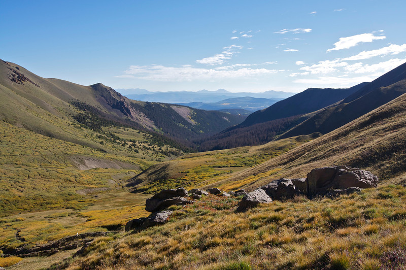 Autumn foliage in the Stewart Creek drainage, the east approach to San Luis Peak; Colorado San Juan Range