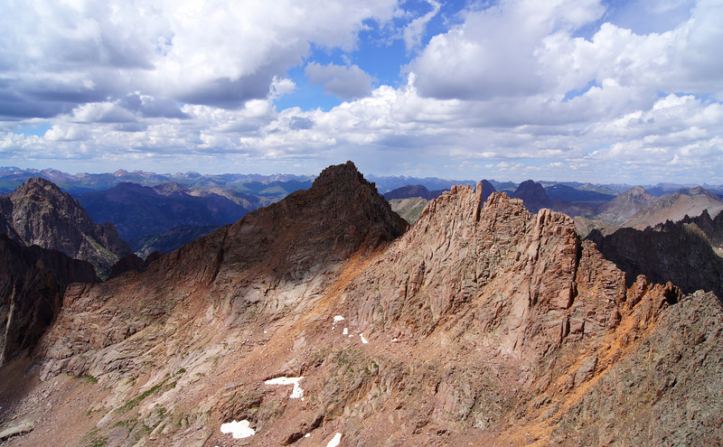 Sunlight Peak's west face and southeast ridge, viewed from the summit of Windom Peak; Colorado San Juans.