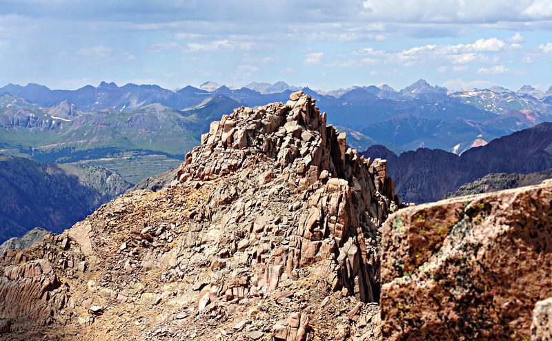 The summit of Sunlight Peak viewed from Windom's summit; Colorado San Juans.