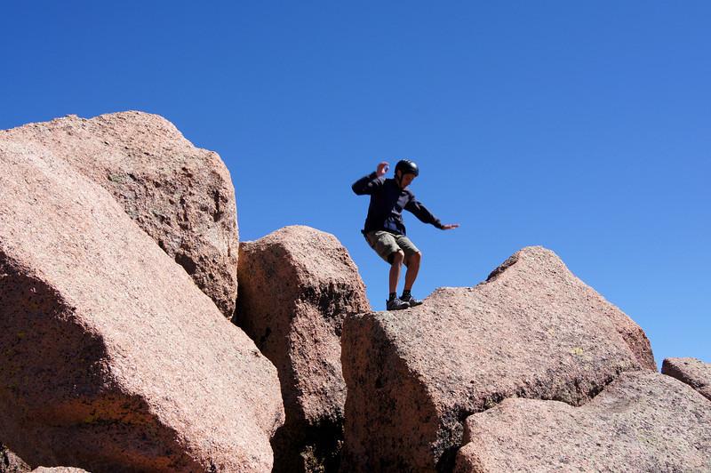 The only way down!  Sunlight Peak (14059 ft.), Colorado San Juans.