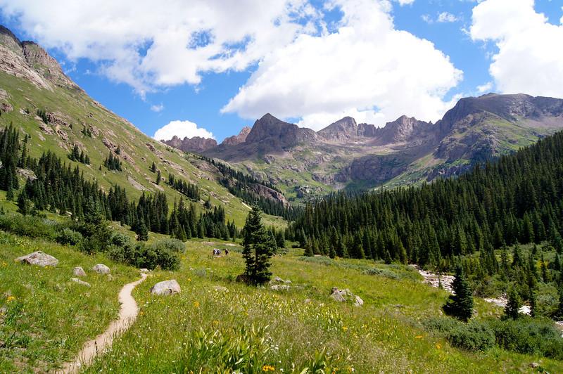 Sunlight Peak, Windom Peak and the Needle Mountains overlook the Chicago Basin; Colorado San Juans.