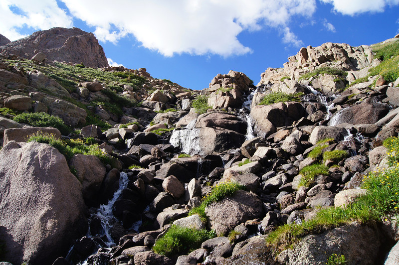 One of several waterfalls flowing into Chicago Basin from Twin Lakes.