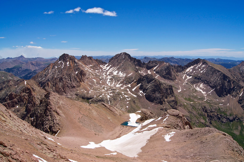 From North Eolus, looking down and across the east slopes of Mount Eolus toward Sunlight and Windom Peaks; Colorado San Juan Range