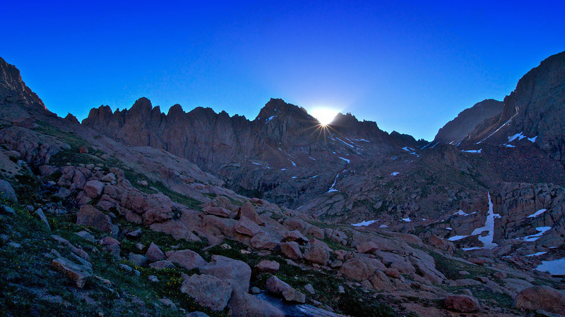 The sun rises over Sunlight Peak.  Photo taken from the Mount Eolus trail; Colorado San Juan Range