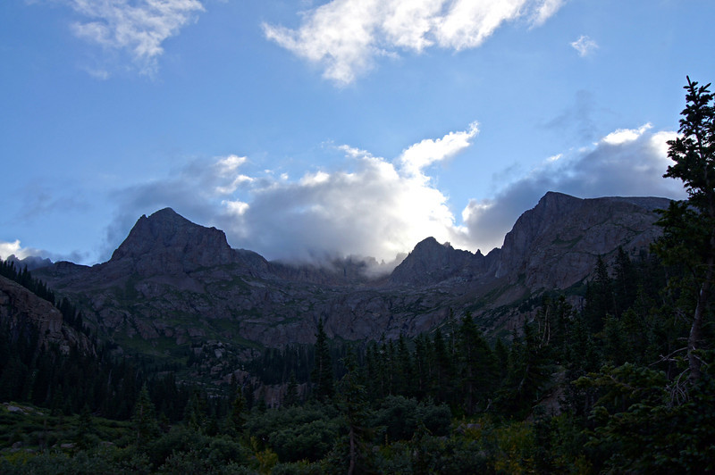 Morning clouds over Sunlight and Windom Peaks; Colorado San Juans.