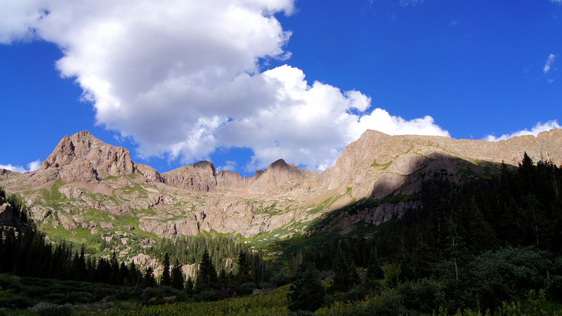The peaks above the Chicago Basin.