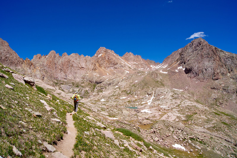 Descending the Mount Eolus trail toward Twin Lakes.  Sunlight Peak towers above (center); Colorado San Juan Range