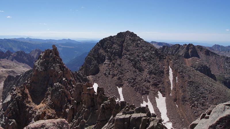 Sunlight Spire (left) and Windom Peak as seen from the summit of Sunlight Peak, Colorado San Juan Mountains.