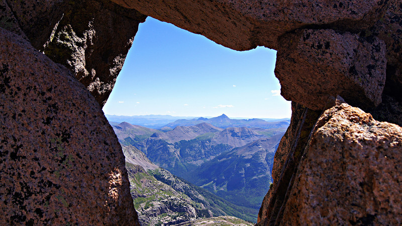A window through Sunlight's upper southeast ridge; Colorado San Juans.