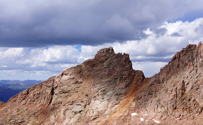 The upper slopes and summit of Sunlight Peak; Colorado San Juans.