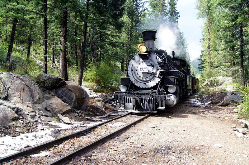 The steam locomotive arrives at Needleton to pick up backpackers.