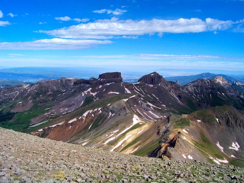 San Juan Mountain landscape viewed from Uncompahgre Peak trail