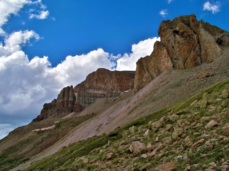 Uncompahgre Peak, south cliffs, Colorado San Juan Mountains