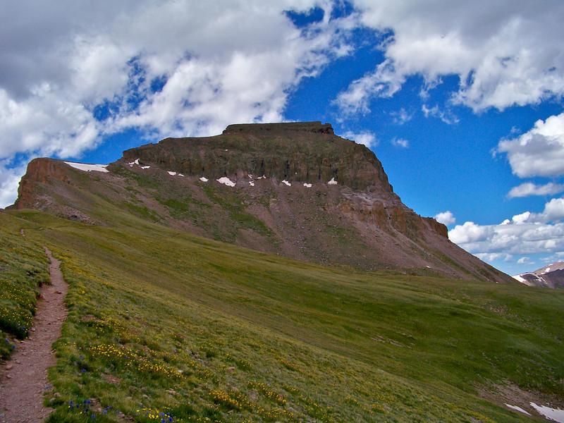 Trail near 13,000 ft. along the southeast ridge, Uncompahgre Peak, Colorado San Juans