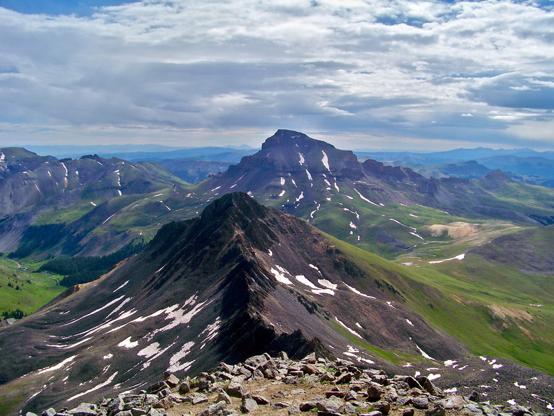 Matterhorn and Uncompahgre Peaks viewed from the summit of Wetterhorn Peak, Colorado San Juans