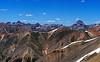 Wetterhorn, Matterhorn and Uncompahgre Peaks, viewed from Sunshine Peak, Colorado San Juan Range.