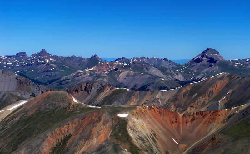 Wetterhorn, Matterhorn and Uncompahgre Peaks, viewed from the Redcloud summit, Colorado San Juan Range.