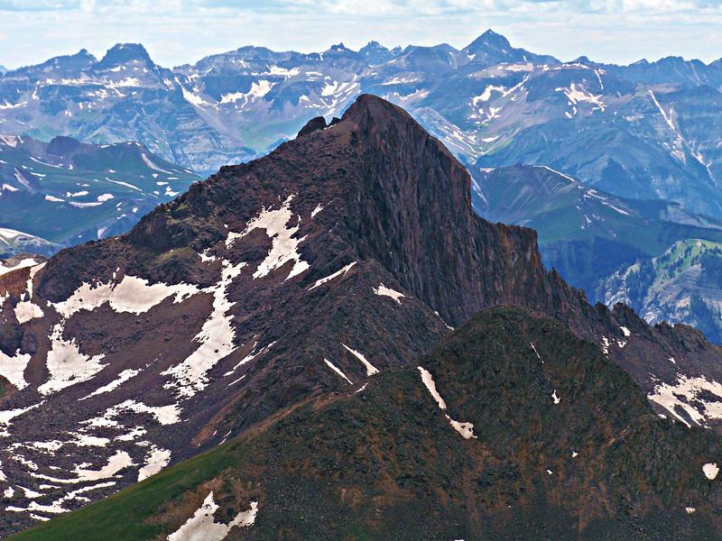 Majestic Wetterhorn Peak before a backdrop of the Sneffels Range, viewed from the summit of Uncompahgre Peak; Colorado San Juan Mountains