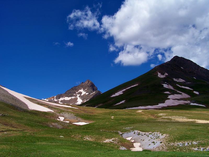 Sun and shadow on Wetterhorn and Matterhorn Peaks, Colorado San Juan Mountains