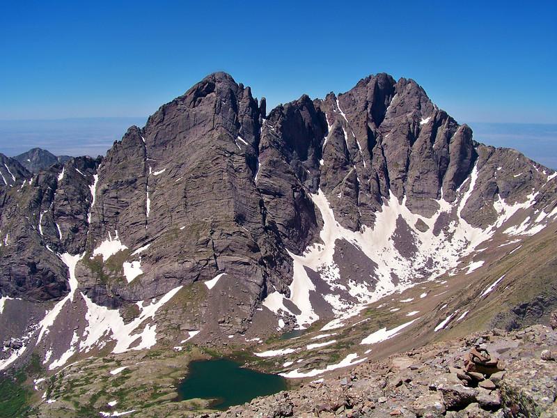 Rugged Crestone Peak and Crestone Needle seen from the Humboldt Peak summit ridge, Colorado.