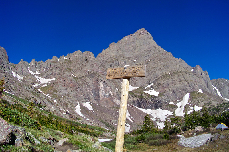 Trail sign for the Crestone Needle ascent; and a nice camp site  just below South Colony Lake; Colorado Sangre de Cristo Range.