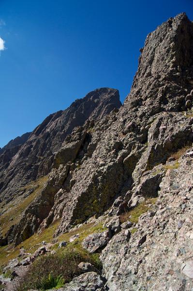 The steep, towering south face of Crestone Needle (center), viewed from Broken Hand Pass; Colorado Sangre de Cristo Range.