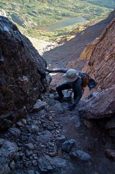 Climbing the steep, narrow upper portion of Broken Hand Pass; Colorado Sangre de Cristo Range.