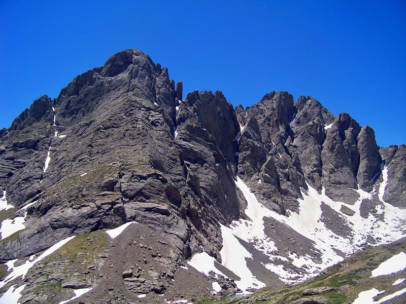The northeast faces of Crestone Needle and Crestone Peak, viewed from the Humboldt Peak trail; Colorado Sangre de Cristo Range.