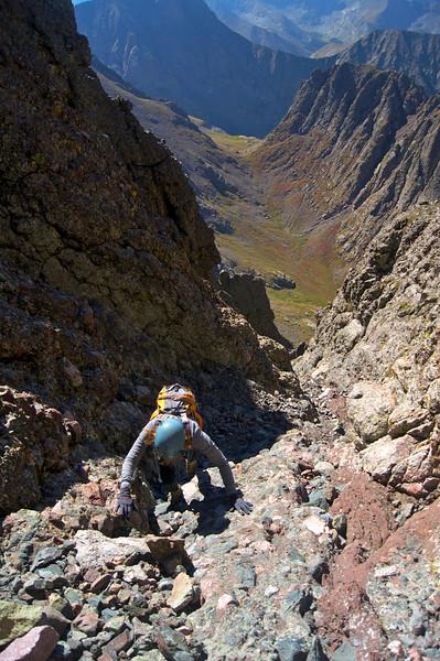 Climbing the west gully at 13,800 feet on Crestone Needle's south face; Colorado Sangre de Cristo Range.