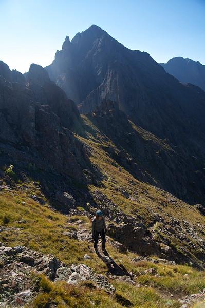 Broken Hand Peak rises directly to the south of Crestone Needle's southeast ridge; Colorado Sangre de Cristo Range.